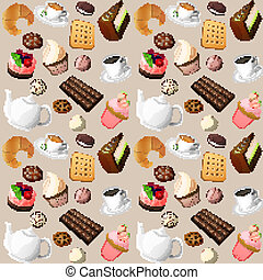Coffee and sweets seamless background of cakes chocolate...