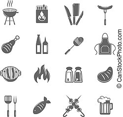Bbq grill icons set - Fish and meat bbq food fire outdoor...