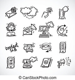Contact Us Icons Sketch - Contact us phone customer service...