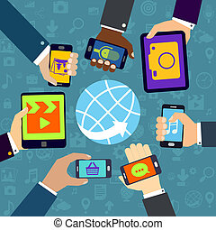Using mobile services - Human hands set holding mobile...