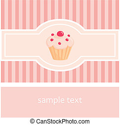 Vector cupcake pink card - Sweet retro vector pink muffin...