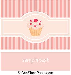Vector cupcake pink card