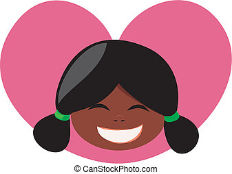 Girl with heart vector illustration