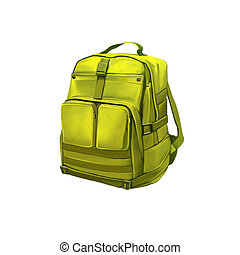 Green Backpack Standing on White Background