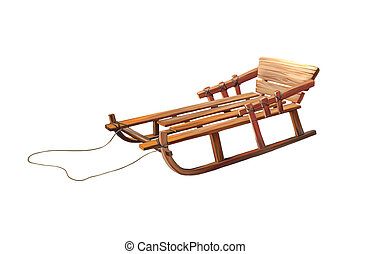 Wooden Sledge, Isolated On White Background