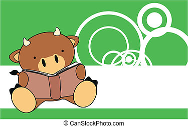 bull baby cute reading cartoon wallapaper in vector format