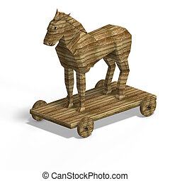Trojan Horse without ladder With Clipping Path over white