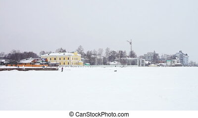 Urban view from Onega lake quay - PETROZAVODSK, RUSSIA -...