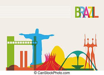 Brazil tourism skyline - Diversity monuments of Brazil,...