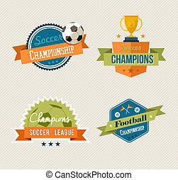 Soccer vintage labels set