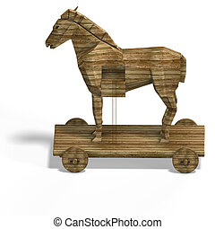Trojan Horse with ladder With Clipping Path over white