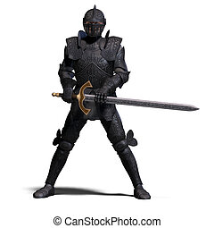 Dark Knight - The Dark Knight with sword With clipping path...