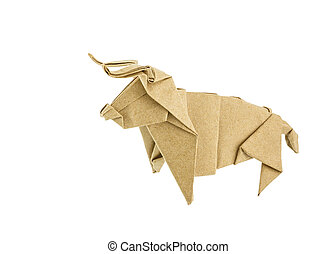 Origami bull recycle paper isolated on white background