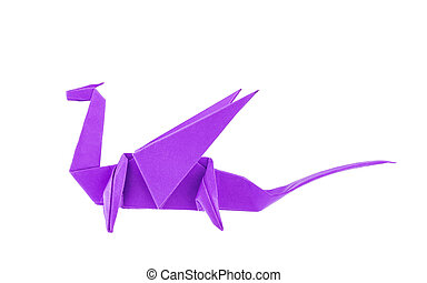 Origami purple dragon isolated on white background