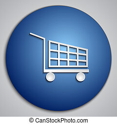Vector round blue Cart button with paper cut image
