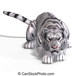 Big Cat White Tiger - Dangerous Big Cat White Tiger With...