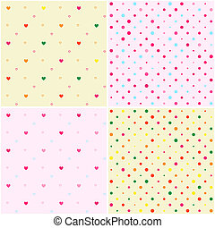 Set of Polka Dot Heart Seamless Patterns
