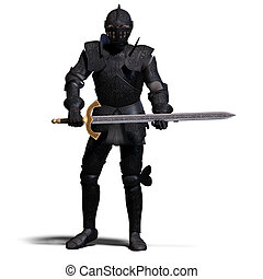 Dark Knight - The Dark Knight with sword. With clipping path...