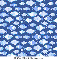 Seamless Texture of Blue Fishes