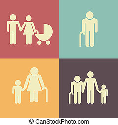 Family design over colorful background, vector illustration