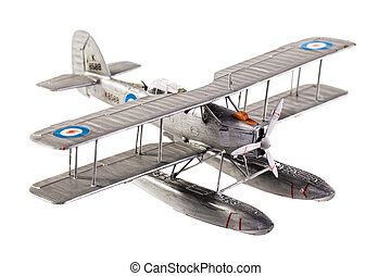 Seaplane model - a gray seaplane model isolated over a white...