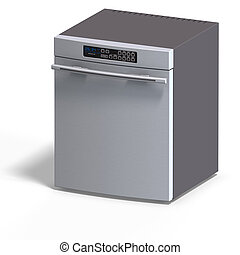 Dishwasher for the kitchen with Clipping Path over white