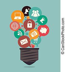 Marketing design over blue background, vector illustration
