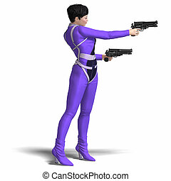 Female Agent Blue - Rendering of Female Action Agent with...