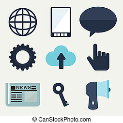 Icons design over background, vector illustration