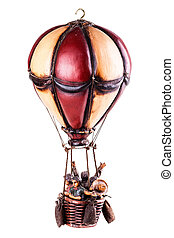 Hot air baloon - a vintage wooden hot air baloon isolated...
