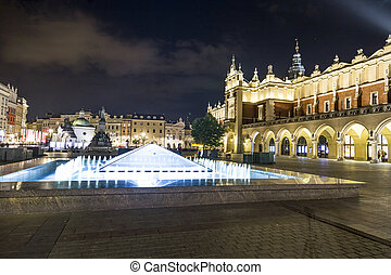 Sukiennice on The Main Market Square in Krakow, Poland -...