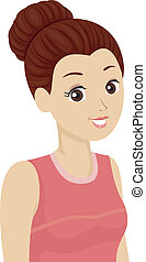 Hair Bun Girl - Illustration of a Girl with Her Hair Tied Up...