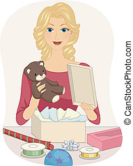 Girl Wrapping Toy - Illustration of a Girl Wrapping a Teddy...