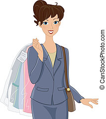 Dry Cleaning Girl - Illustration of a Girl in an Office...