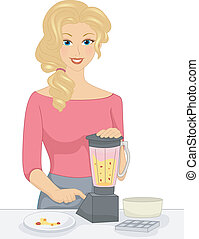 Blender Girl - Illustration of a Girl Mixing Fruits in the...