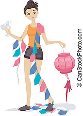 House Party Decorator - Illustration of a Girl Carrying...