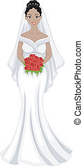 African American Bride - Illustration of a Lovely...