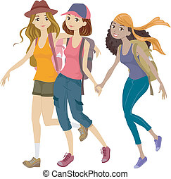 Mountaineering Teens - Illustration of a Group of Teens Off...