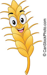 Wheat Mascot - Mascot Illustration of a Wheat Stalk Smiling...