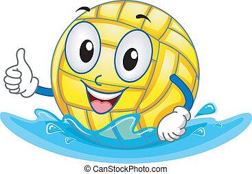 Water Polo Ball Mascot - Mascot Illustration Featuring a...