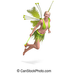 Beautiful Fairy with Wings - young fearie with faethery...