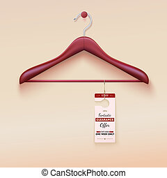 Red tag with special offer sign, wooden hanger - Red tag...