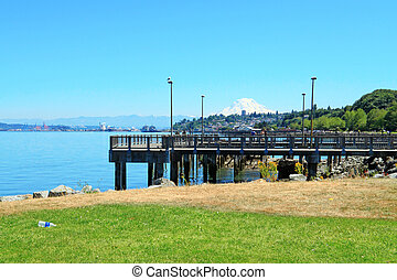 Tacoma Pier view WA - Tacoma, summer Washington State Public...