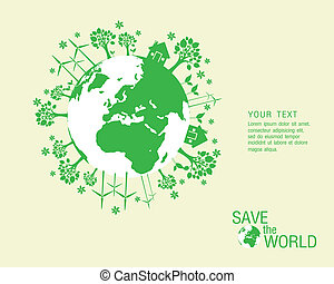 Ecological and save the world green illustration eps 10