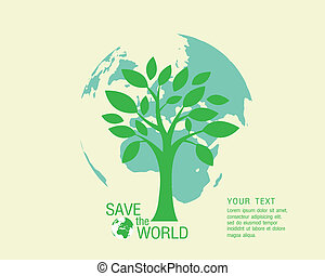 Ecological and save the world green illustration eps 10.