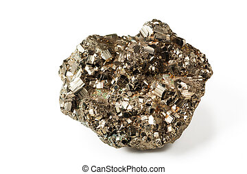 Shiny pyrite - Beautiful shiny galenite on white isolated...