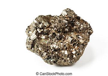 Shiny pyrite - Beautiful shiny galenite on white isolated...