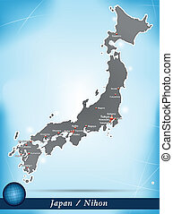 Map of Japan with abstract background in blue
