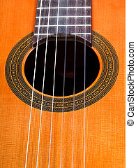 sound hole of spanish acoustic guitar close up - sound hole...