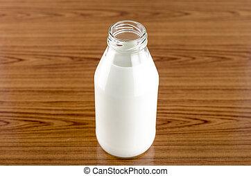 milk in a glass of bottle